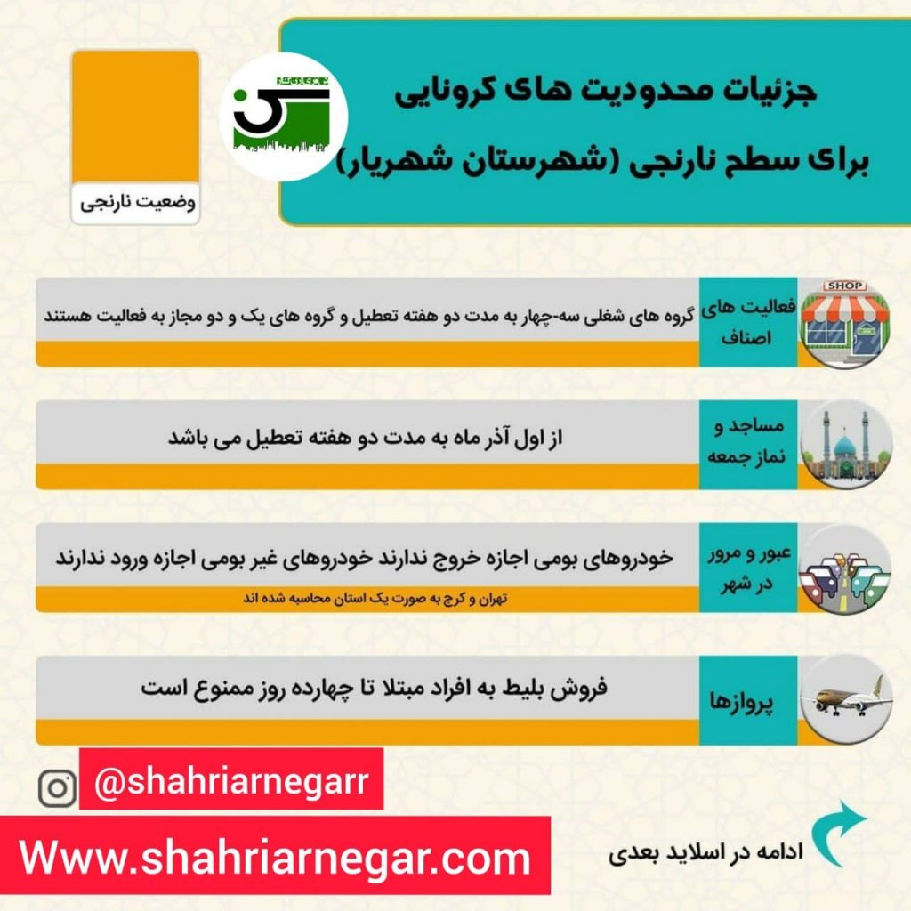 وضعیت نارنجی شهرستان شهریار